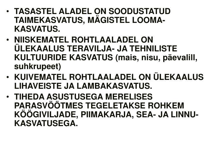 TASASTEL ALADEL ON SOODUSTATUD TAIMEKASVATUS, MÄGISTEL LOOMA-KASVATUS.
