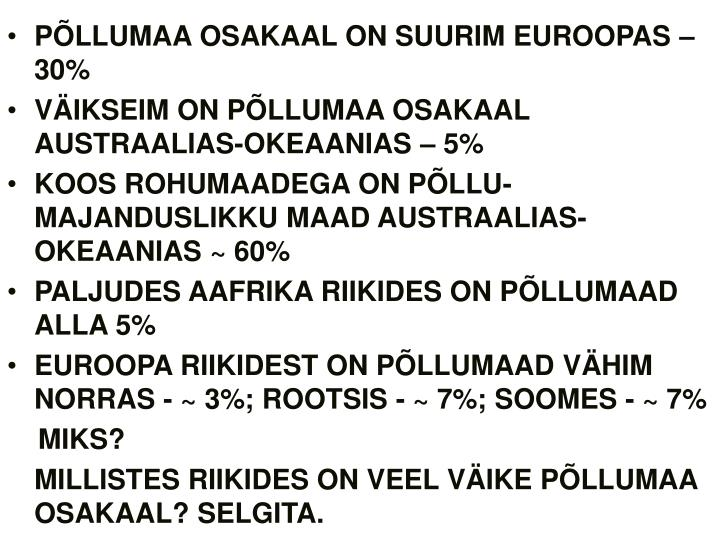 PÕLLUMAA OSAKAAL ON SUURIM EUROOPAS – 30%