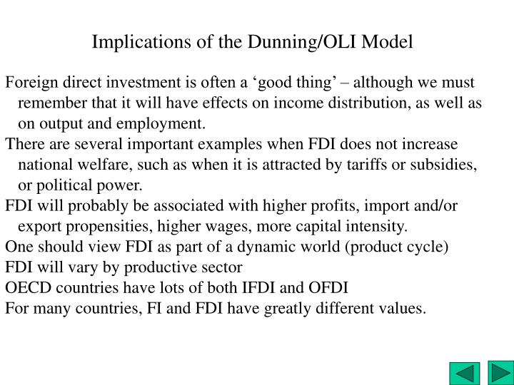 Implications of the Dunning/OLI Model