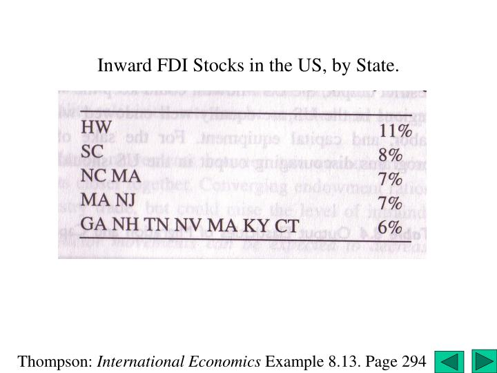 Inward FDI Stocks in the US, by State.