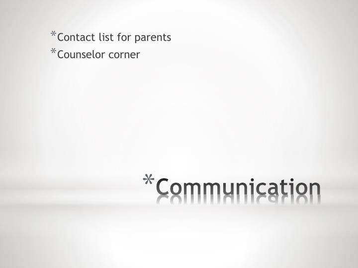 Contact list for parents