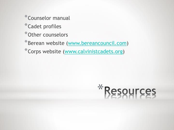 Counselor manual