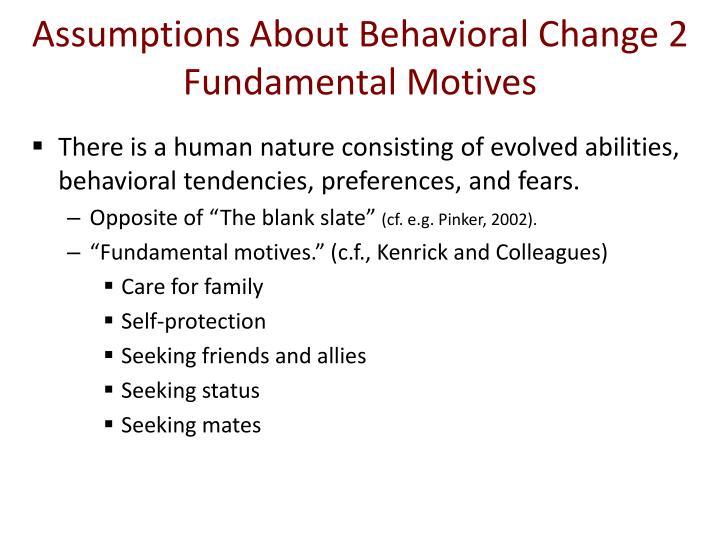 Assumptions About Behavioral Change 2