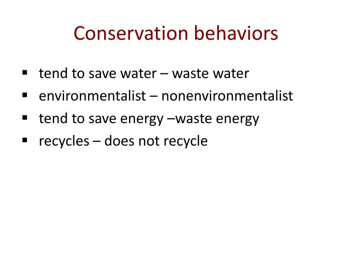 Conservation behaviors