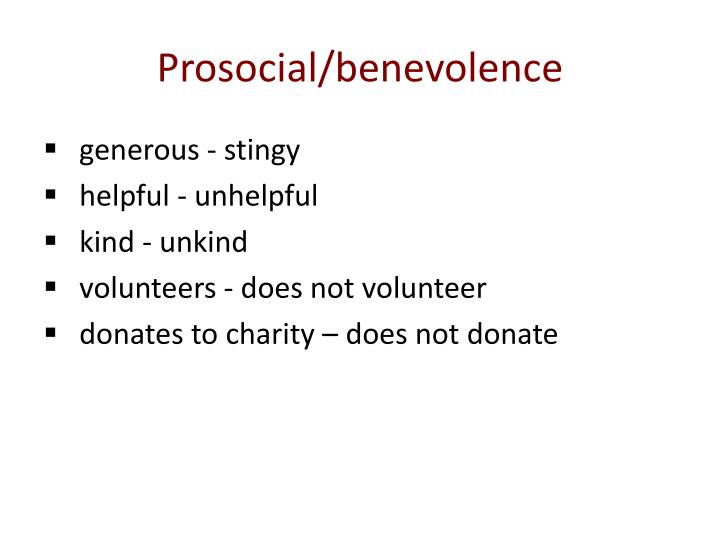 Prosocial/benevolence