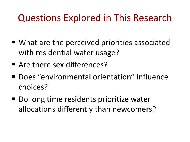 Questions Explored in This Research