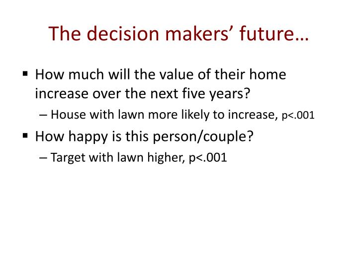 The decision makers' future…