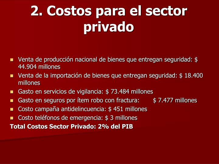 2. Costos para el sector privado
