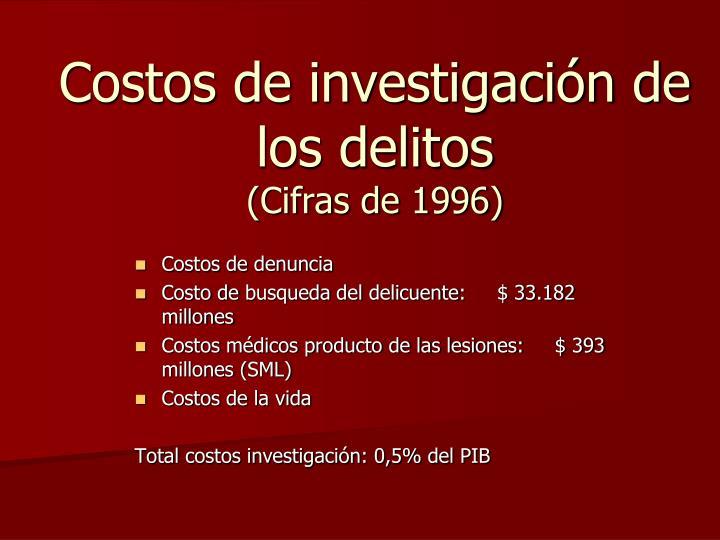 Costos de investigación de los delitos