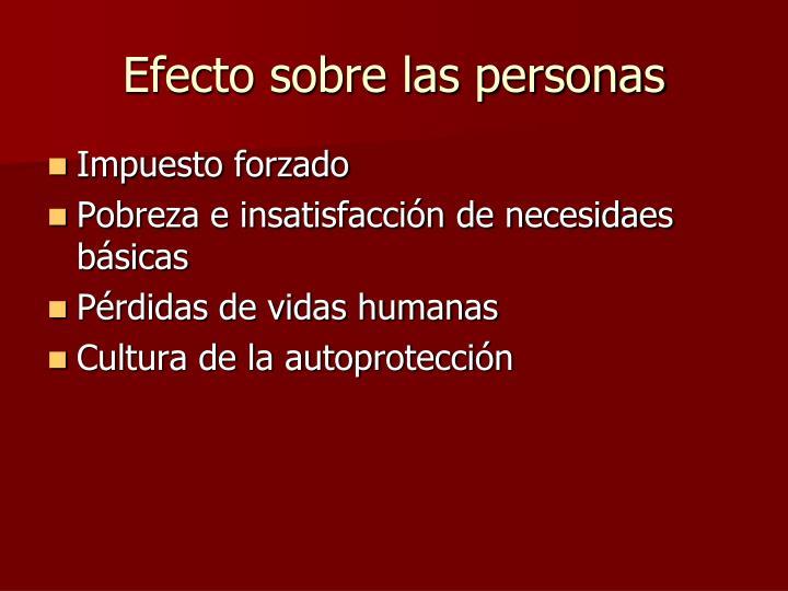 Efecto sobre las personas