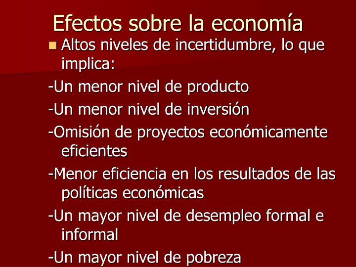 Efectos sobre la economía