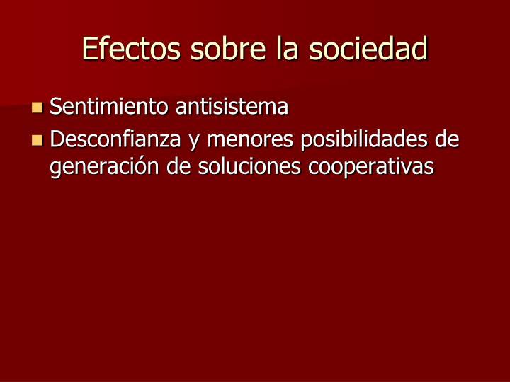 Efectos sobre la sociedad