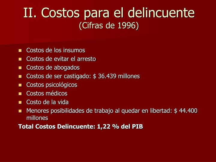 II. Costos para el delincuente