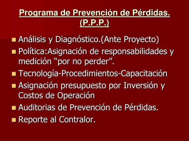 Programa de Prevención de Pérdidas.