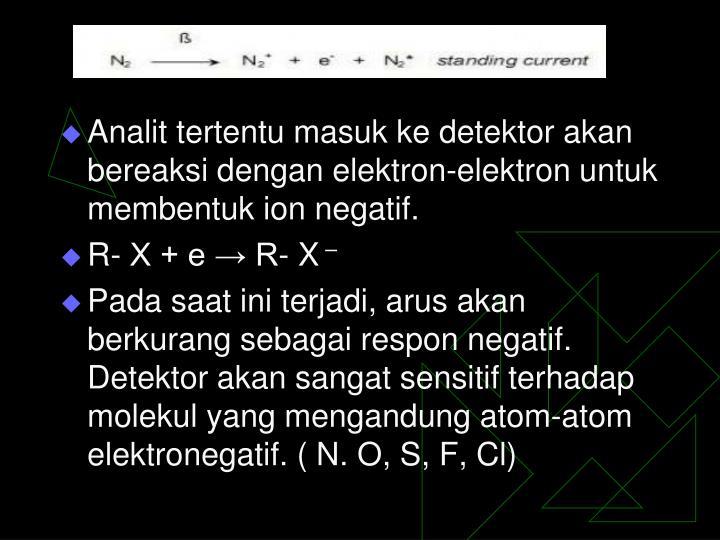 Analit tertentu masuk ke detektor akan bereaksi dengan elektron-elektron untuk membentuk ion negatif.