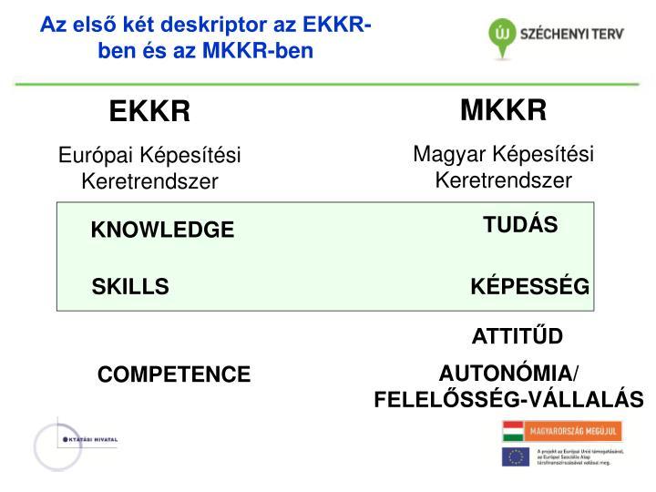 Az első két deskriptor az EKKR-ben és az MKKR-ben