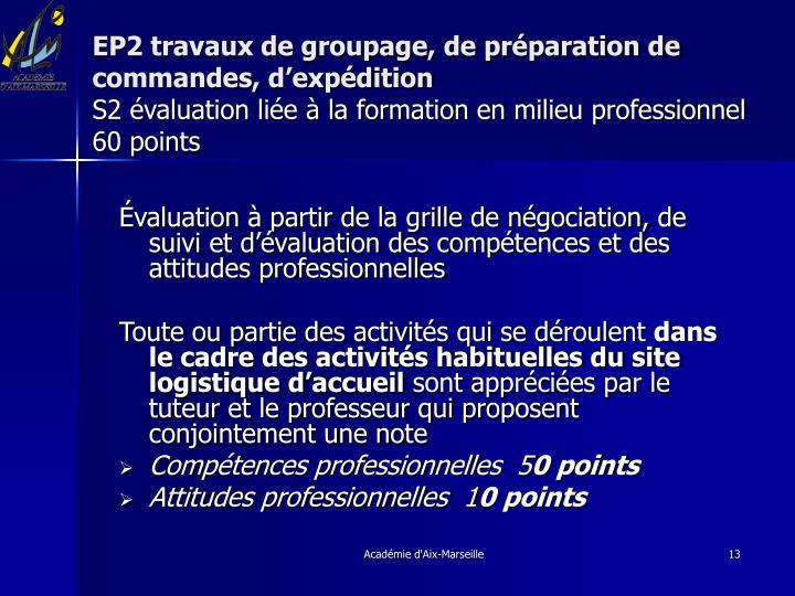 EP2 travaux de groupage, de préparation de commandes, d'expédition