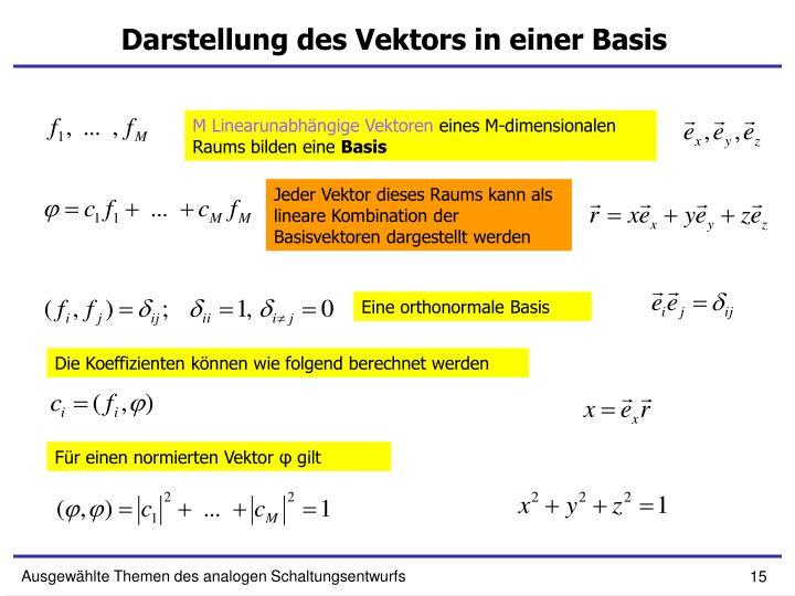 Darstellung des Vektors in einer Basis