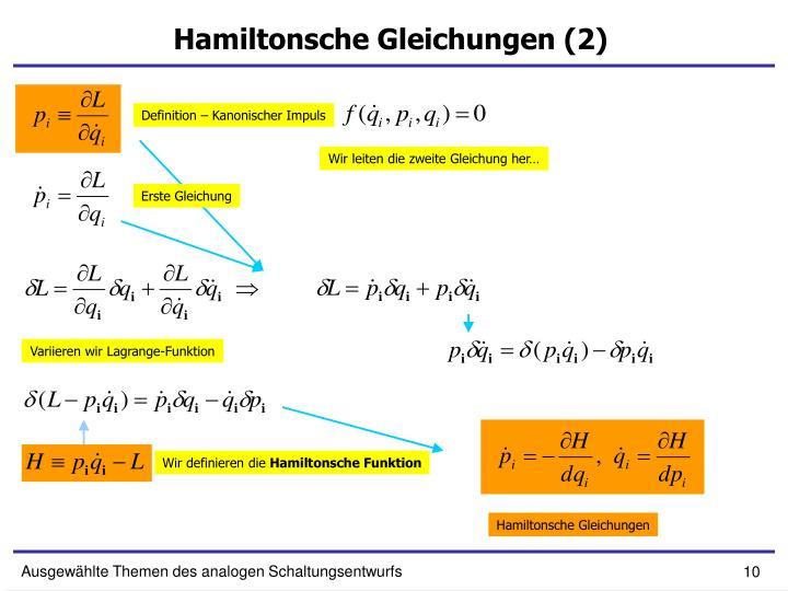 Hamiltonsche Gleichungen (2)