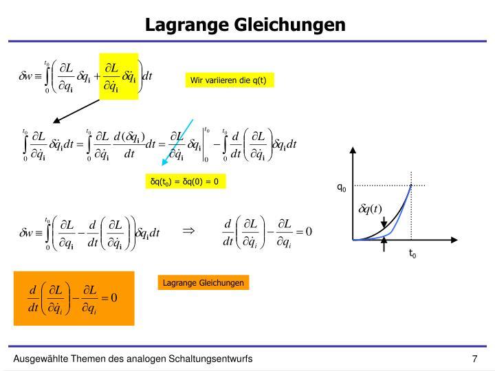 Lagrange Gleichungen