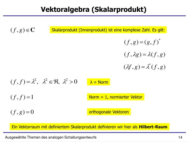 Vektoralgebra (Skalarprodukt)