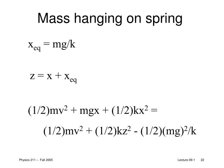 Mass hanging on spring
