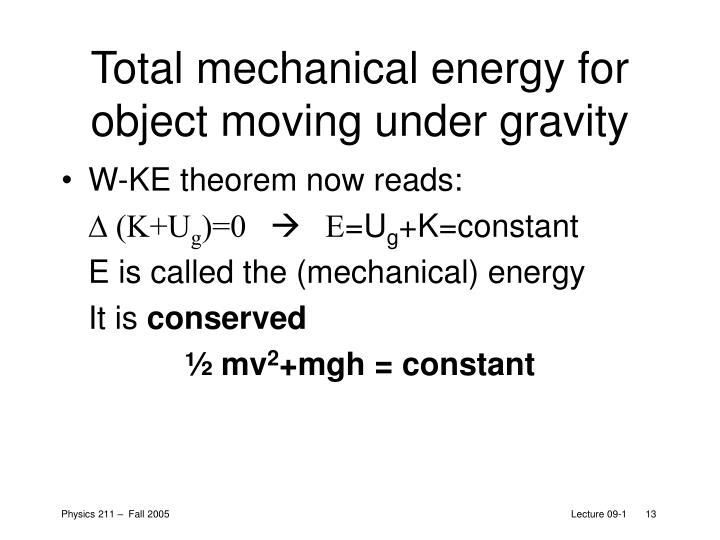 Total mechanical energy for object moving under gravity