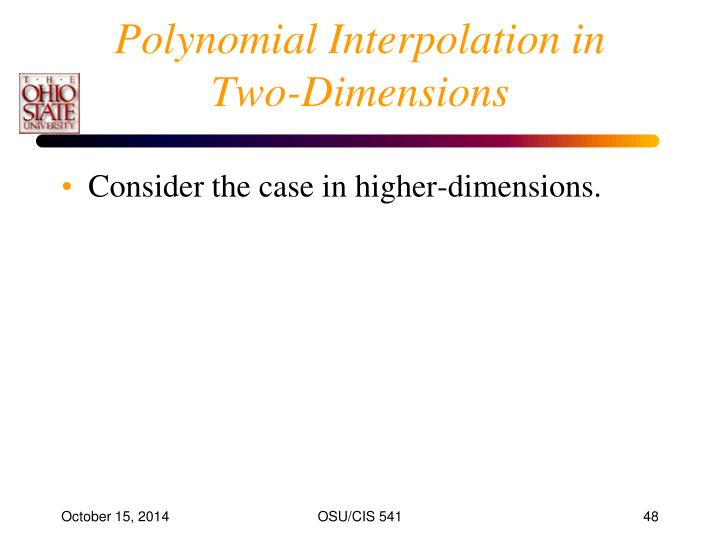 Polynomial Interpolation in