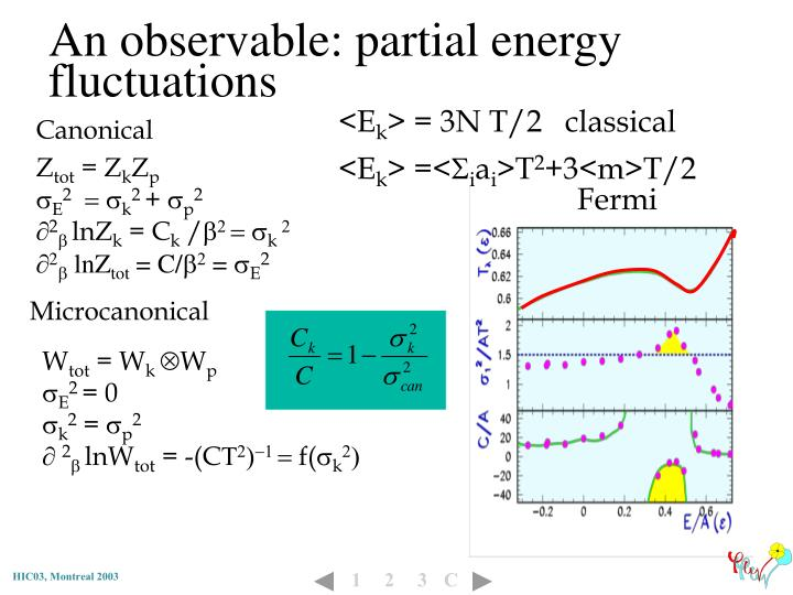An observable: partial energy fluctuations