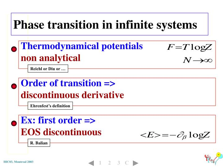 Phase transition in infinite systems