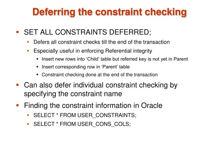 Deferring the constraint checking