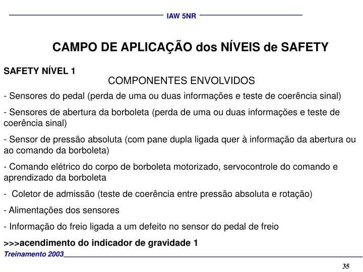 CAMPO DE APLICAÇÃO dos NÍVEIS de SAFETY