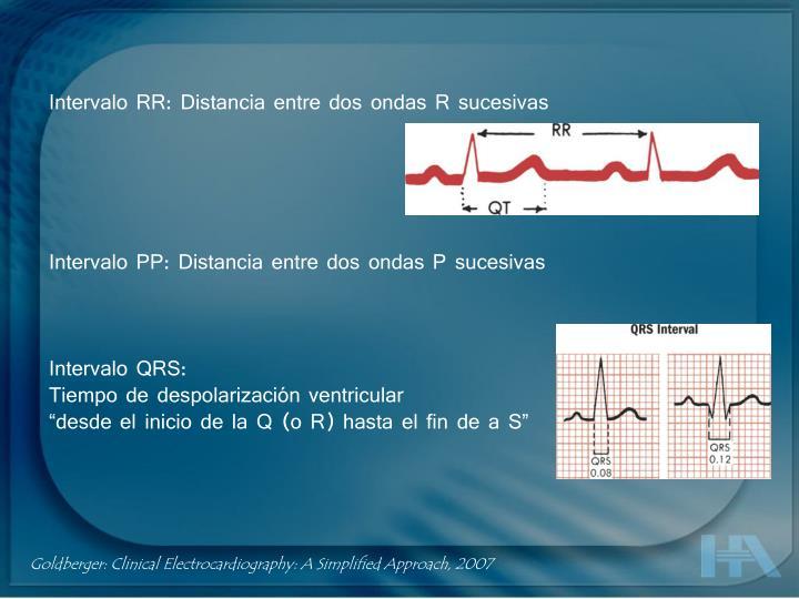 Intervalo RR: Distancia entre dos ondas R sucesivas