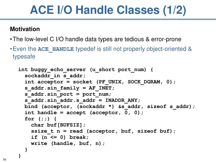 ACE I/O Handle Classes (1/2)