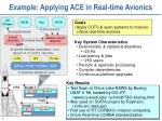 example applying ace in real time avionics