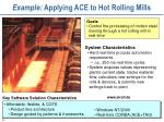 example applying ace to hot rolling mills