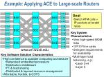 example applying ace to large scale routers