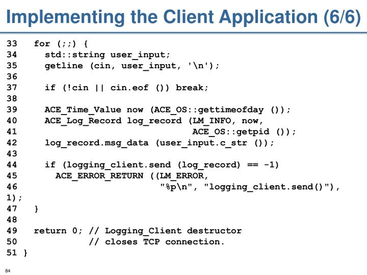 Implementing the Client Application (6/6)