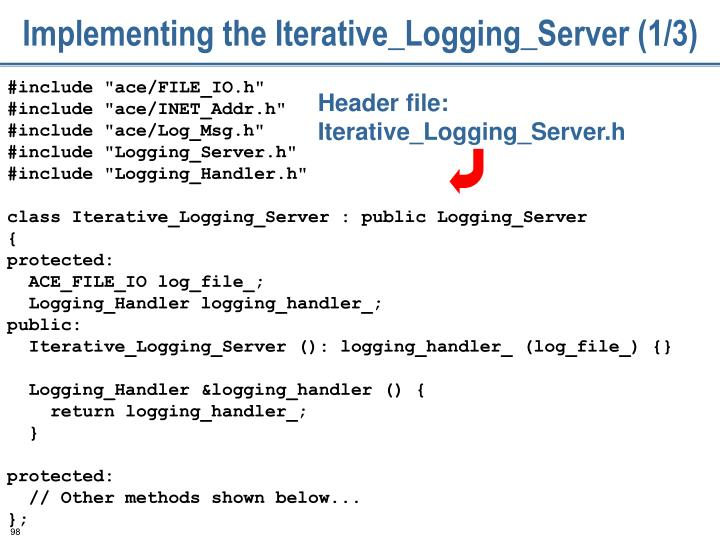 Implementing the Iterative_Logging_Server (1/3)