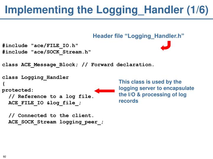 Implementing the Logging_Handler (1/6)