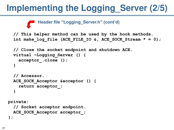 Implementing the Logging_Server (2/5)