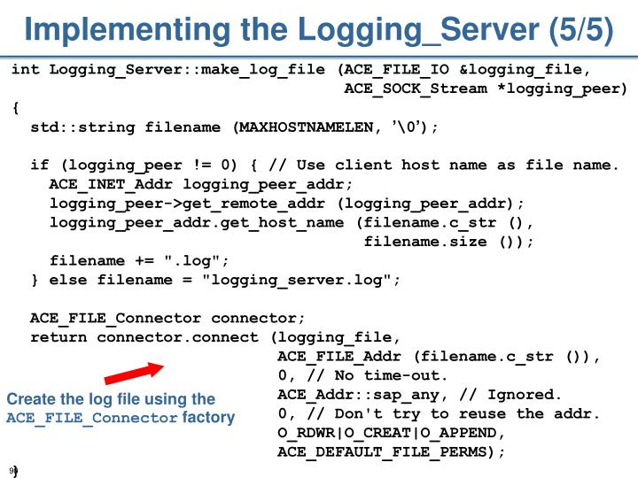 Implementing the Logging_Server (5/5)
