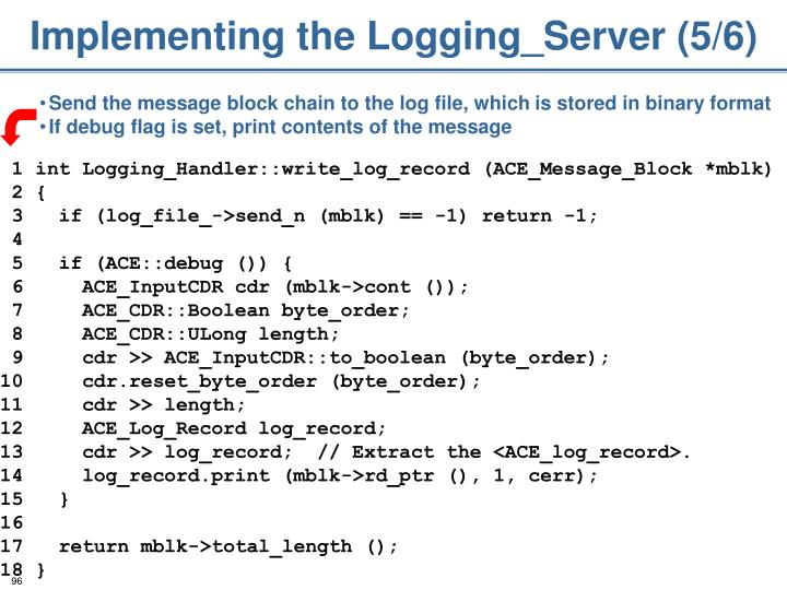 Implementing the Logging_Server (5/6)