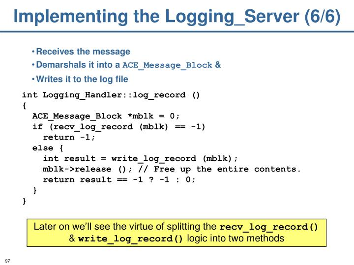 Implementing the Logging_Server (6/6)