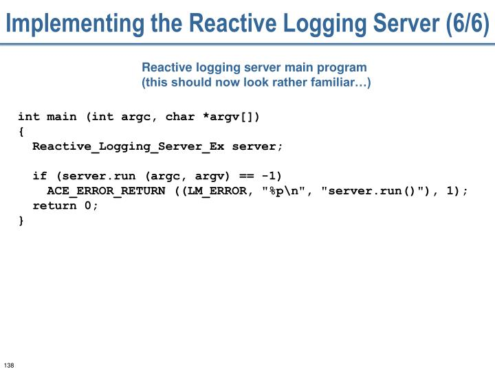 Implementing the Reactive Logging Server (6/6)