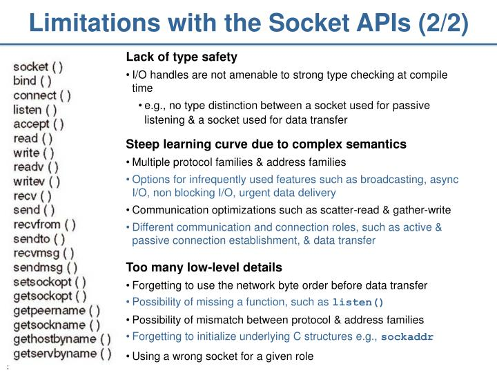 Limitations with the Socket APIs (2/2)
