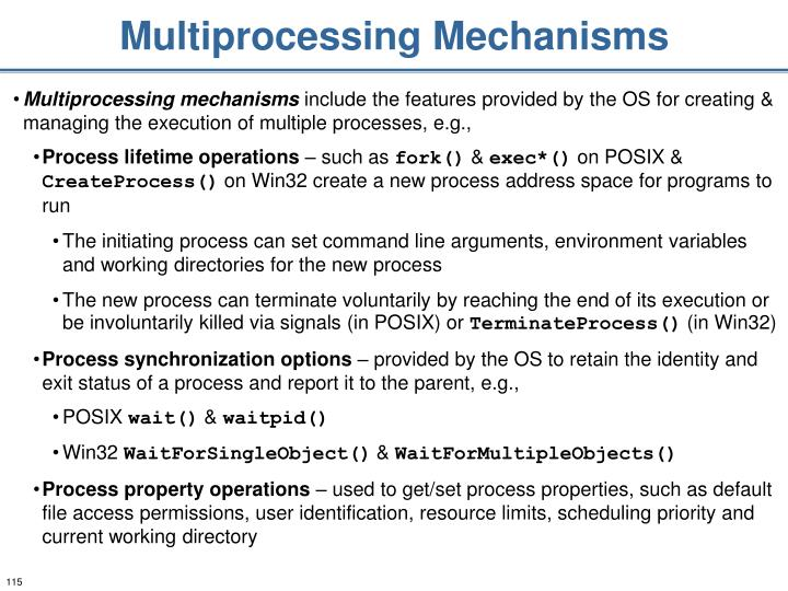 Multiprocessing Mechanisms