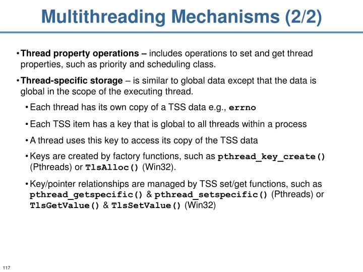 Multithreading Mechanisms (2/2)