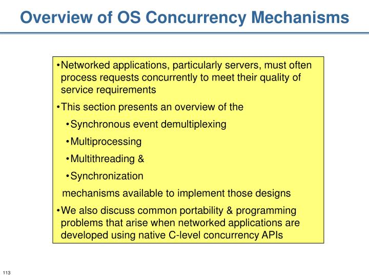 Overview of OS Concurrency Mechanisms