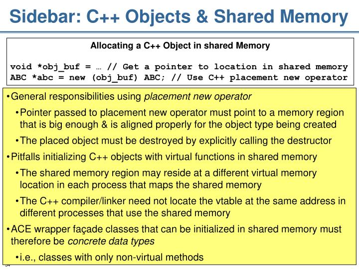 Sidebar: C++ Objects & Shared Memory